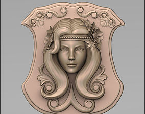 3D printable model Woman head bas relief