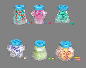 3D asset Cartoon Candies - Glass Jar - Sweets