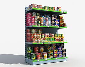 Supermarket Shelves Canned Food 3D