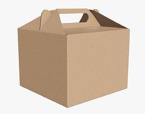 Gable box cardboard food packing 02 3D