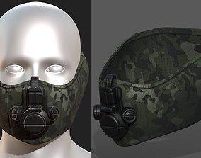 VR / AR ready Gas mask helmet 3d model military combat