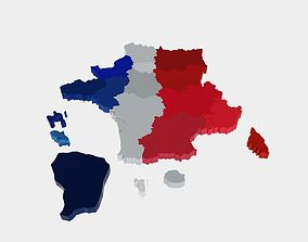 game-ready France 3D Map with regions and overseas