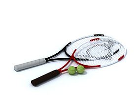 3D model Tennis Rackets Balls