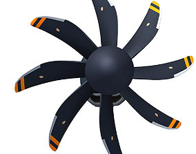 Black Propeller Propfan Jet Engine 3D