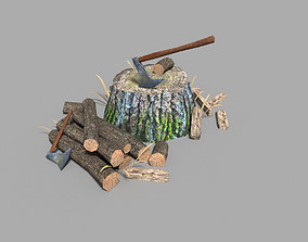 3D model low poly medieval stump