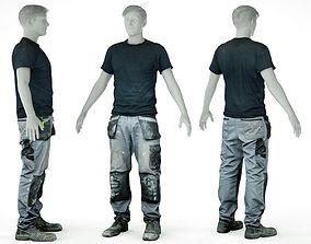 Male Work Outfit 7 T Shirt Pants Footwear 3D asset