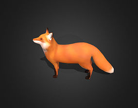 3D asset Low Poly Red Fox