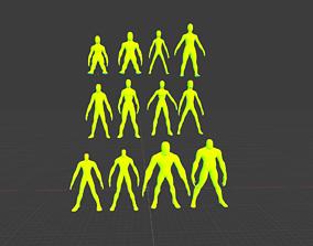 3D asset Alien Fantasy Character Base Meshes Low-Medium