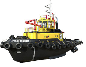 3D asset VR / AR ready Tugboat lowpoly