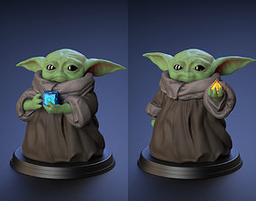 Baby Yoda - With Cube and Sith Holocron - 3D print model 1