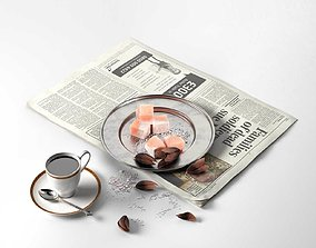 3D tablespoonful Coffee and the Newspaper