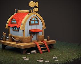Stylized Boat house 3D asset