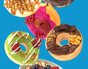 3D 8 Donut with toppings pack