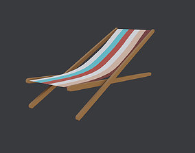 Low Poly Beach Chair 3D model game-ready