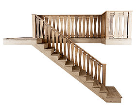 Wooden stair F021 3D