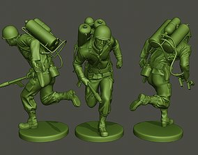 American soldier ww2 run A6 3D printable model