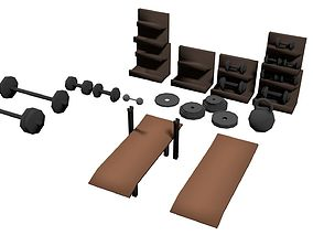 Low Poly Gym Pack Weights Barbel Bench Train 3D model 1