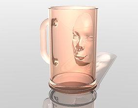 Beer mug with human 3D head