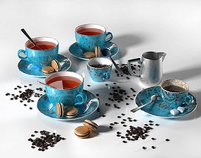 Tea Set with Chocolate Macarons plate 3D model