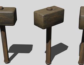 Wooden hammer 3D asset