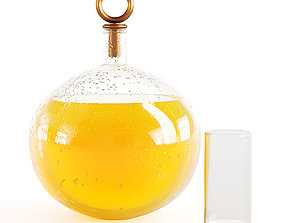 Decanter with orange juice with water drops on a glass 3D