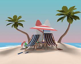 Low Poly Exteriors - Beach Seaside Pack 3D asset