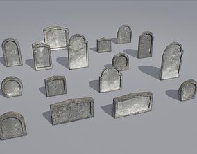 Gravestones pack 5 3D model low-poly