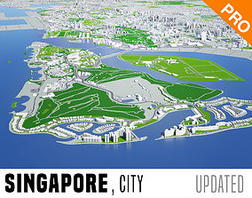 3D model Singapore City Low Poly VR AR