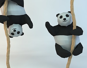 Lowpoly Cute Panda with Rope 3D print model
