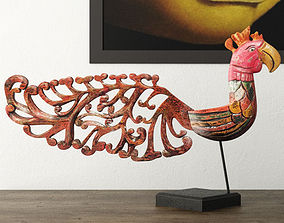 3D Bali Jackfruit Wood Bird On Stand