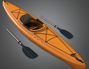 3D asset CAM - Kayak and Paddles - PBR Game Ready
