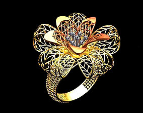 Flower mesh Ring 3D print model-stl