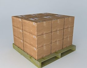 3D model Pallet with boxes
