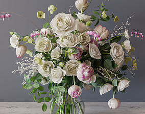 Bouquet of white roses 3D