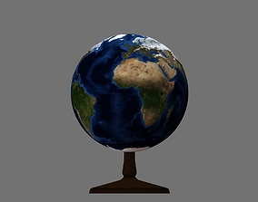 Earth globe 3d model with relief planet