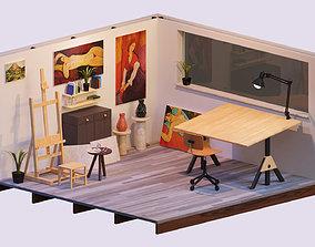 3D asset The Artist s Studio Isometric Game Environment