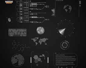 Sci-Fi Hud Elements dashboard 3D model