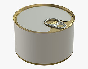 3D model canned food round tin metal aluminium can 02