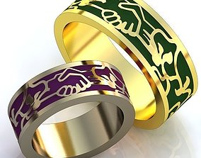 Gold Metal Wedding Rings 3D model 1