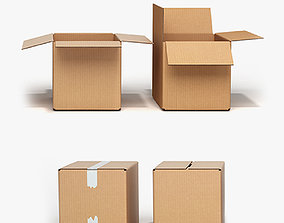 cardboard Cardboard boxes open and closed 3D asset