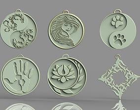 3D printable model Set of pendants 6 pieces stl