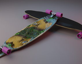 Longboard 3D model low-poly
