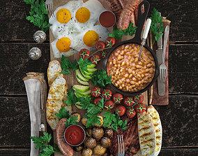 3D model Full English Breakfast platter