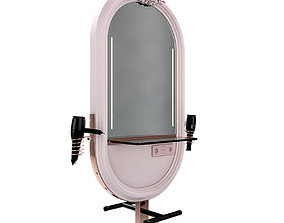 hairdresser table mirror pink copper 3D