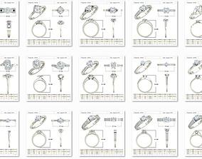 100 Bulk Women Solitaire ring Collection 3dm stl detail 1