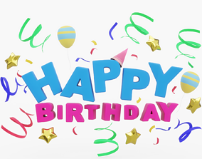 3D asset Happy Birthday Logo