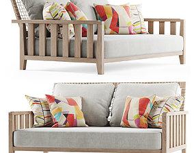 Double wooden garden sofa 3D
