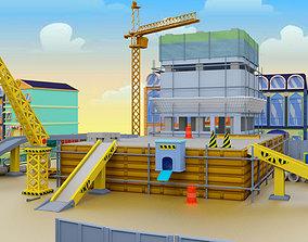 3D model Building Construction cartoon