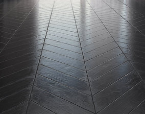 Floor parquet - Chevron - Black Aged 3D model