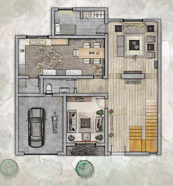 2D Floor Plan in Photoshop